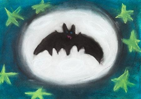 bambini disegno: bambini che disegnano - volare pipistrello di notte con la luna piena Archivio Fotografico