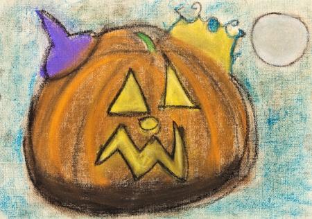 bambini disegno: bambini che disegnano - giallo intagliato la zucca di Halloween