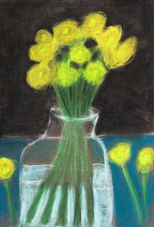 children drawing - still life yellow flowers in glass jar photo