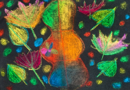 children drawing - many bright autumn leaves on black background photo