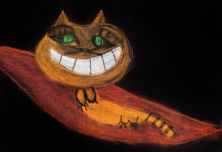 children drawing - smiling cat on flying carpet photo