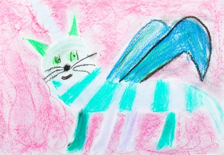 fabled: children drawing - striped cat with wing on pink background