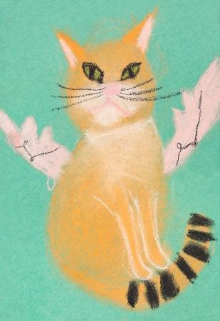 bambini disegno: bambini che disegnano - volare gatto rosso con le ali su sfondo verde Archivio Fotografico