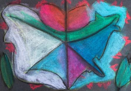 dessin enfants: enfants dessin abstrait-feuille d'automne sur fond noir Banque d'images