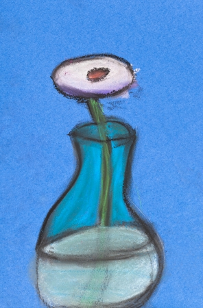 children drawing - still life white flower in glass vase photo