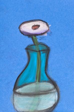 Children Drawing Still Life White Flower In Glass Vase Stock Photo