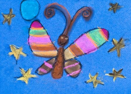 dessin enfants: dessin d'enfants - nuit papillon sous le ciel bleu �toiles