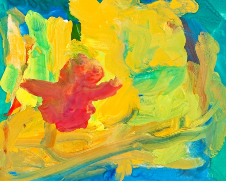 gouache: children drawing - abstract gouache painting