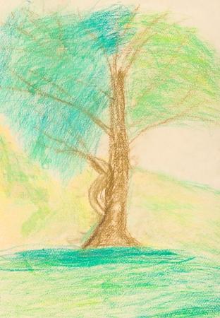 dessin enfants: dessin d'enfants - arbre vert dans chaude journ�e d'�t�