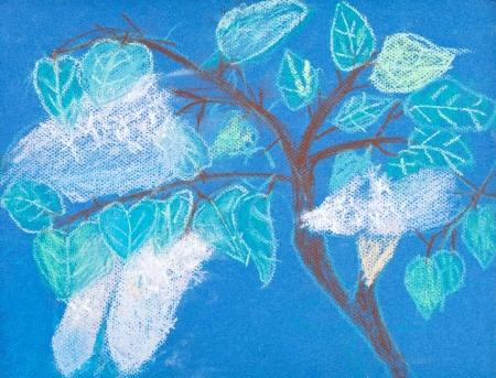 dessin enfants: enfants dessin - branche d'arbre avec la fleur blanche au printemps