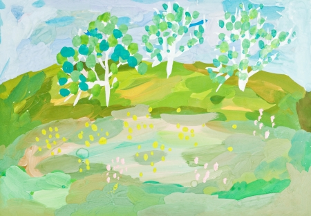 gouache: children drawing - autumn landscape with three trees on green hill