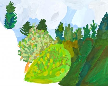 dessin enfants: dessin d'enfants - pente enneig�e de la colline dans la for�t verte Banque d'images