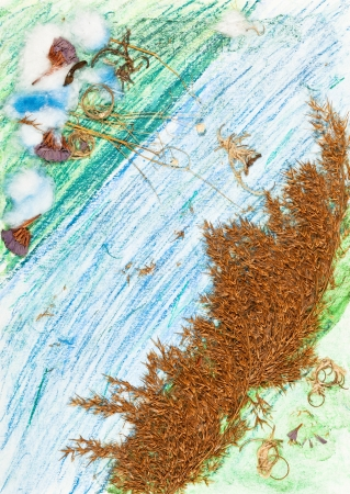 children drawing and applique - dried bushes on riverbank photo