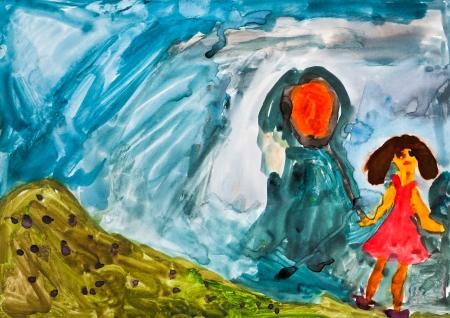 dessin enfants: enfants dessin - fille avec le ballon d'orange marchant � l'ext�rieur Banque d'images