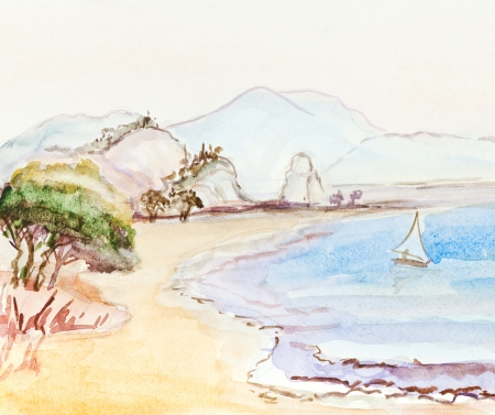panoramic beach: watercolor italian idyllic landscape with sailboat, sand beach, hills