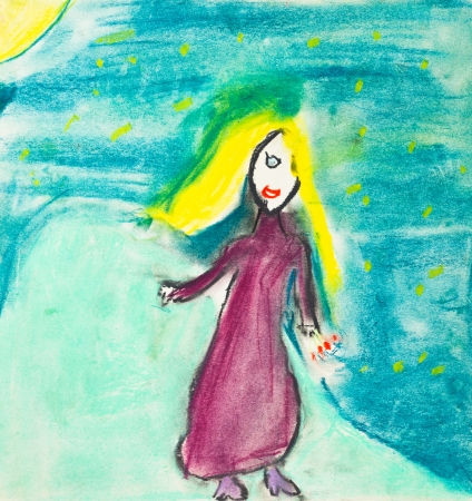 long night: children drawing - girl with long yellow hair and red dress walks over summer night sky