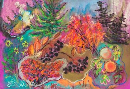 dessin enfants: enfants dessin - automne lumineux for�t stylis�e