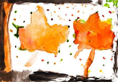 bambini disegno: bambini che disegnano - caduta foglie d'acero in finestra in autunno Archivio Fotografico