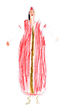 sundress: children drawing - woman in traditional russian red sundress