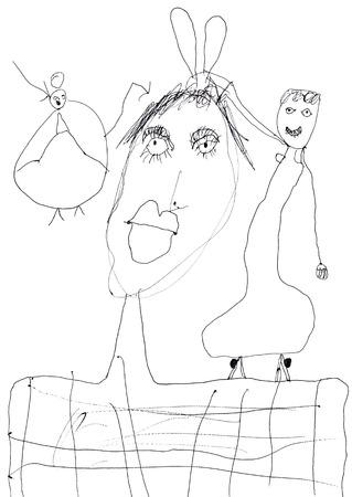 dessin enfants: dessin d'enfants - portrait de famille de la m�re et deux filles Banque d'images