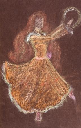 dessin enfants: dessin d'enfants - fille withh longue danse avec les cheveux rouges tambourin