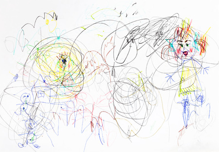 children drawing - chaos in family upbringing photo