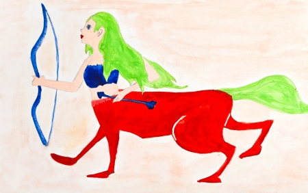 fabled: children drawing - female centaur with bow and arrow Stock Photo
