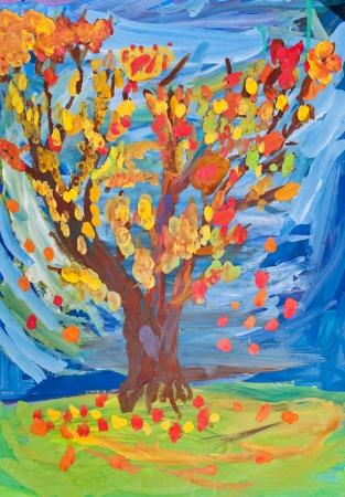 bambini disegno: bambini che disegnano - Albero witn lascia cadere nel giorno di autunno