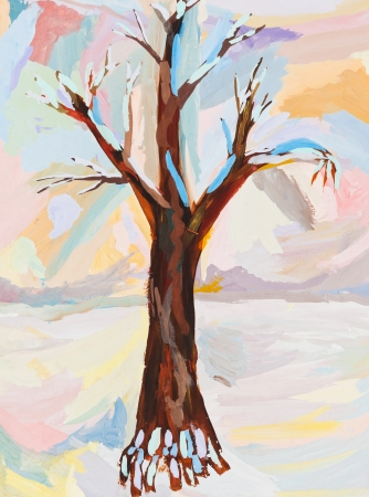 children drawing - bare oak tree in snowy winter day photo