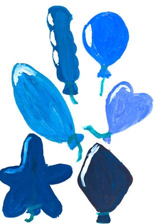 bambini disegno: bambini che disegnano - mongolfiere blu in diverse forme