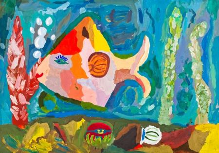dessin enfants: dessin d'enfants - poissons tropicaux roses pr�s