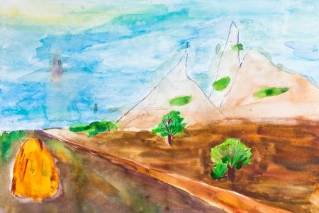 dessin enfants: enfants dessin - route de campagne � l'horizon dans les montagnes Banque d'images