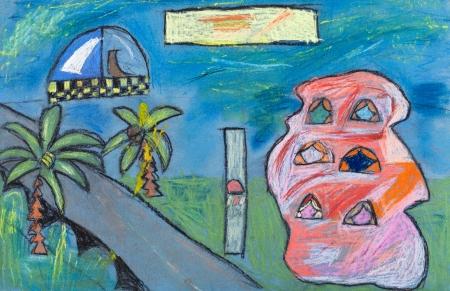 dessin enfants: dessin d'enfants - paysage urbain futuriste avec des maisons et de la route