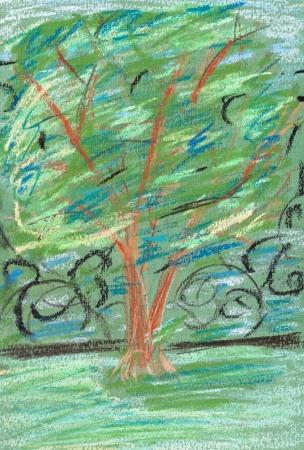 dessin enfants: dessin d'enfants - arbre vert dans un parc urbain en soir�e