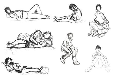 dessin enfants: dessin d'enfants - des croquis de position couch�e et assise personnes Banque d'images