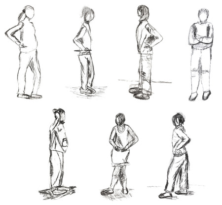 standing people: children drawing - sketches of standing people