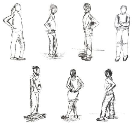 dessin enfants: dessin d'enfants - des croquis de gens debout