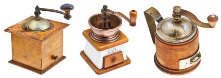 set of retro manual coffee mills isolated on white background photo