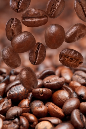 focus on foreground: many falling beans and dark roasted coffee beans background with focus foreground