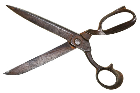 wide open old tailor shears isolated on white background photo