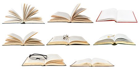 set from open books isolated on white background photo