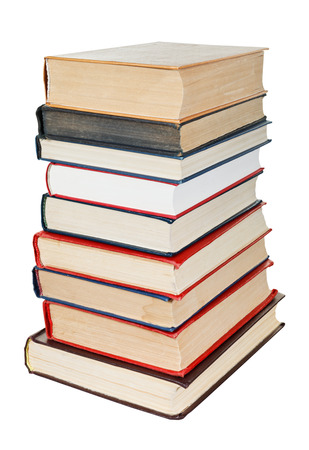 stack of books isolated on white background photo