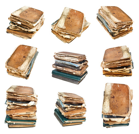 set from different angles of old vintage book isolated on white background photo