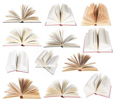 set from fan open books isolated on white background photo