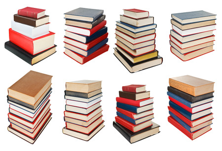 set from different angles stacks of books isolated on white background photo