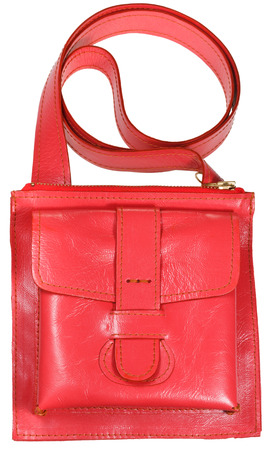 pochette: female small red leather handbag isolated on white background Stock Photo