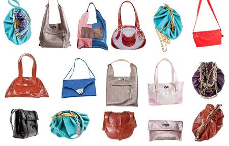 pochette: set of ladies handbags isolated on white background Stock Photo