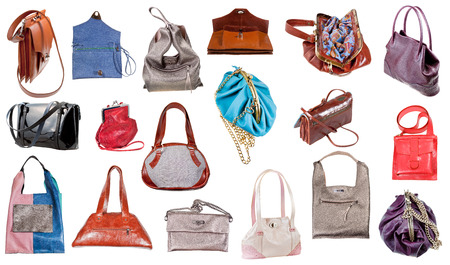 collection of ladies handbags isolated on white background photo