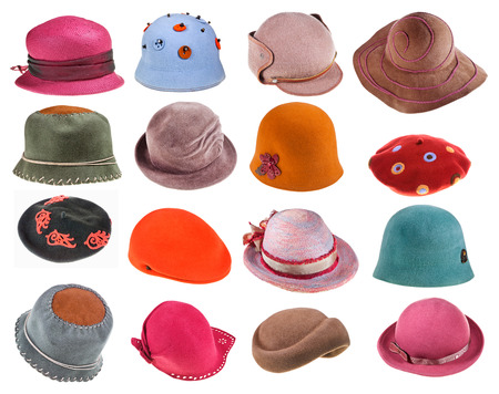 set of felt ladies hats isolated on white background photo