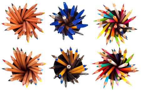 set of top view of pens and pencils with white background photo